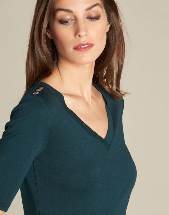 Ecume dark green T-shirt with studded detailing on the shoulders PhotoZ | 1-2-3