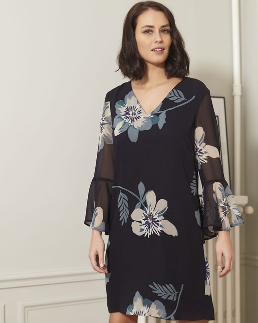 Astrid navy blue floral printed dress (2) - 1-2-3