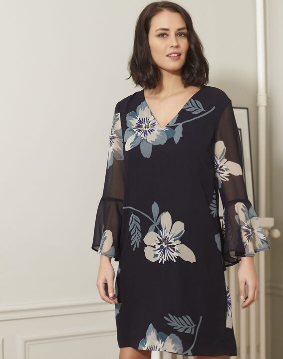 Astrid navy blue floral printed dress PhotoZ | 1-2-3