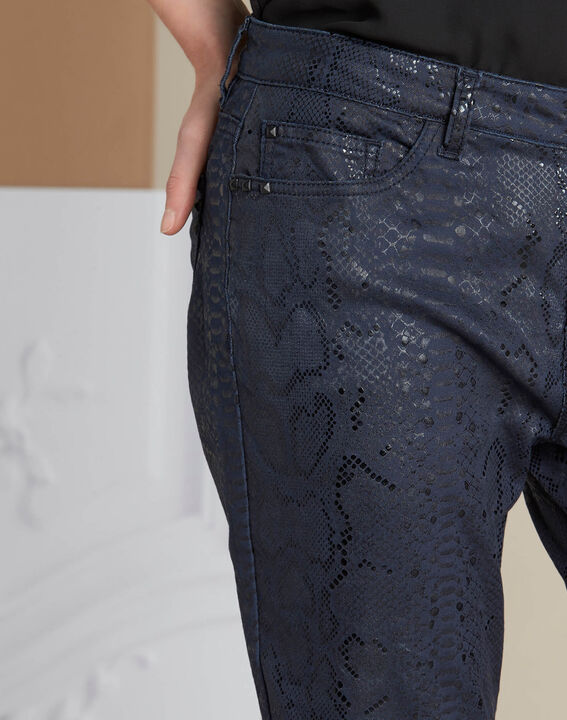 Vendôme python print navy blue coated jeans PhotoZ | 1-2-3