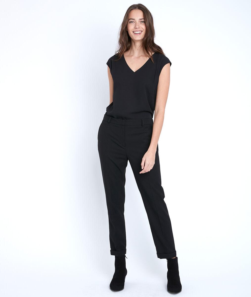 Zwarte blouse uit twee materialen Neptune PhotoZ | 1-2-3