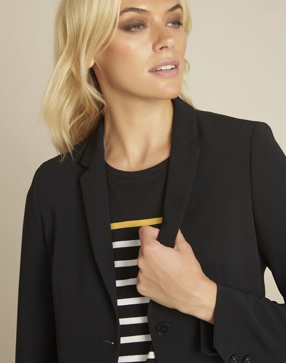 Eve black belted jacket in microfibre (2) - 1-2-3