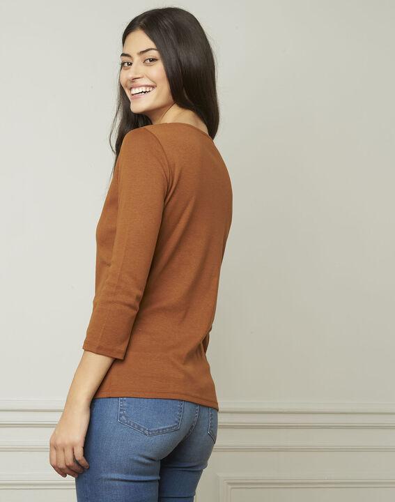 Braunes T-Shirt mit V-Ausschnitt mit Ösen Basic (3) - Maison 123