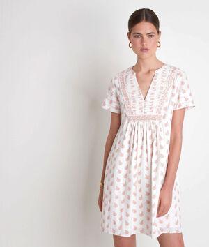 Robe courte en coton imprimé blanche Soledad