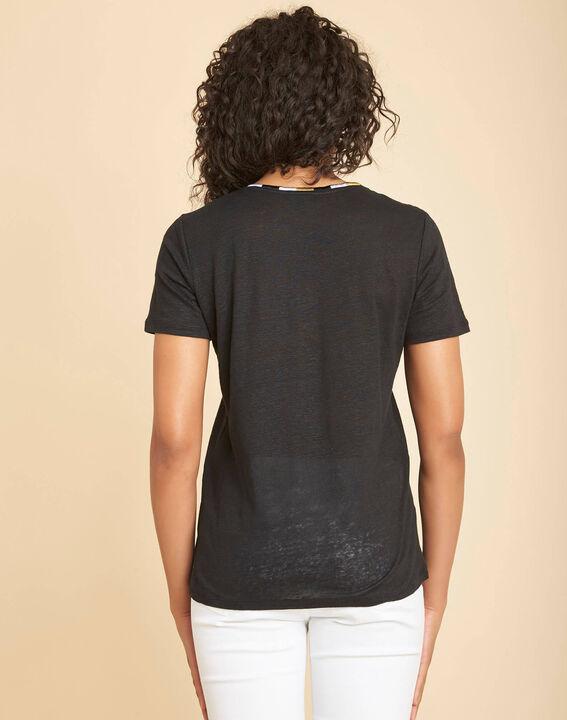 Tee-shirt noir en lin col fantaisie Elin (4) - 1-2-3