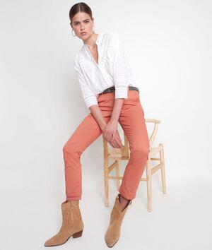Pantalon droit en coton rouge orangé Francis