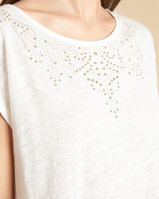 Tee-shirt écru en lin à motifs cloutés Emireille (2) - 1-2-3