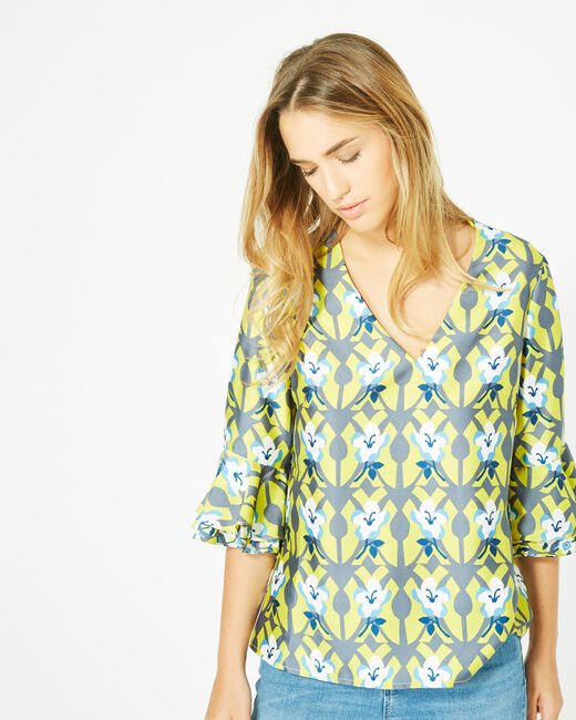 Dorine yellow floral printed blouse (1) - 1-2-3