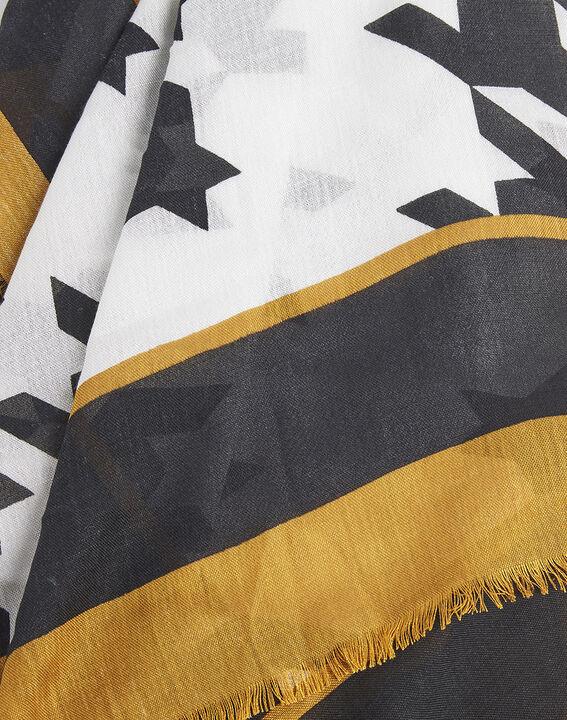 Ecrufarbener Schal mit grafischem Druckmuster aus Modal und Wolle Falbala (2) - Maison 123