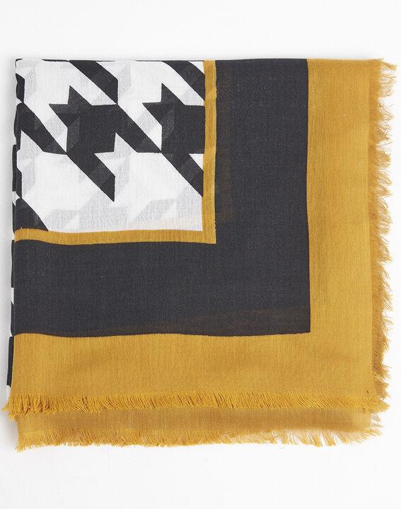 Ecrufarbener Schal mit grafischem Druckmuster aus Modal und Wolle Falbala PhotoZ | 1-2-3