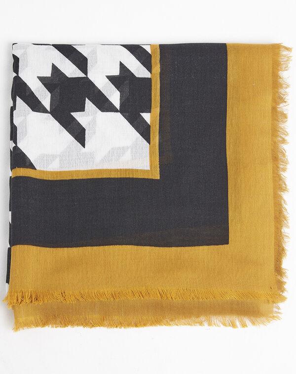 Ecru sjaal van modaal en wol met grafische print Falbala (2) - 37653