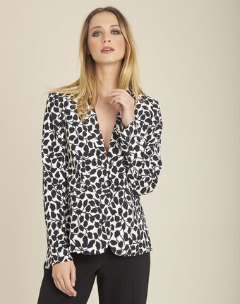 Printed black and white leaf print jacket off white.