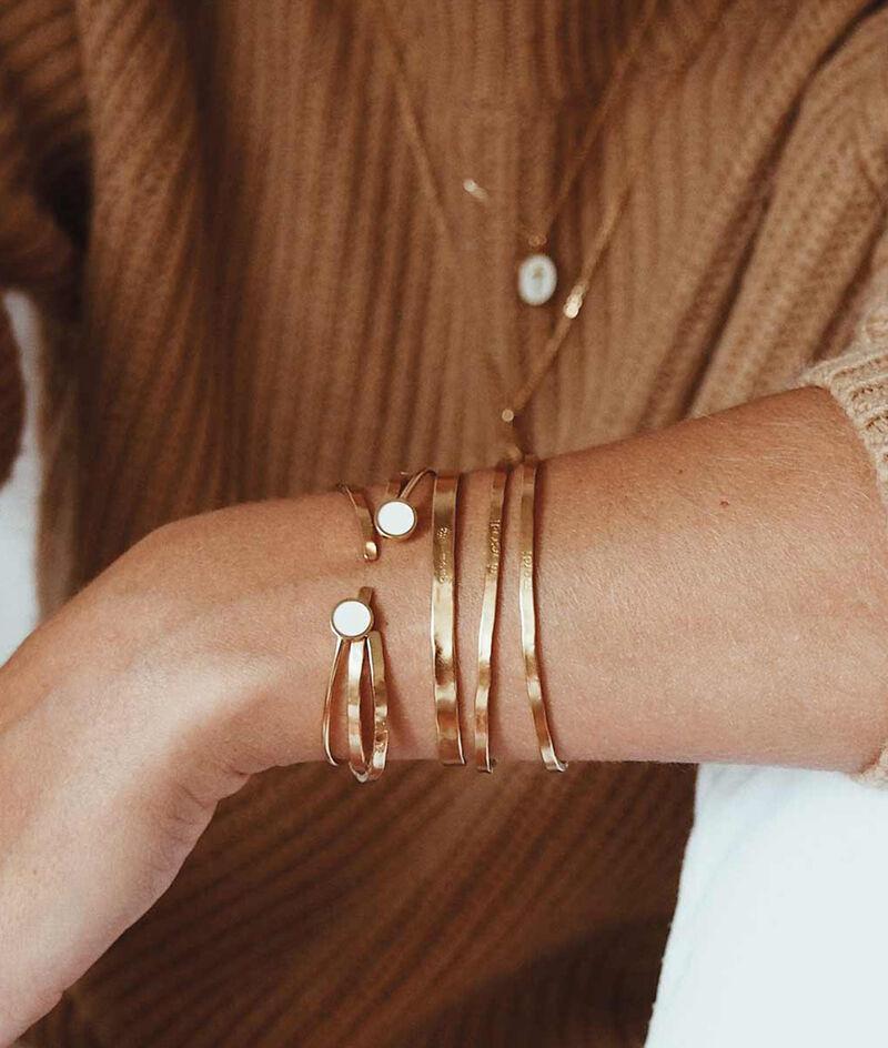 Bracelet jonc laqué pastille ivoire or Bijoux Léone PhotoZ | 1-2-3