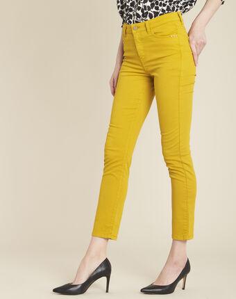 Vendôme 7/8 length slim-cut yellow cotton satin jeans ochre.