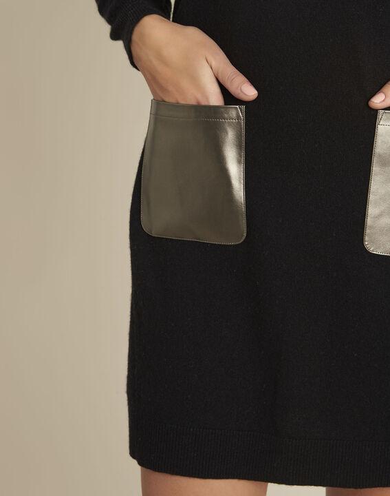 Robe noire poche faux cuir en maille Baltus (3) - 1-2-3