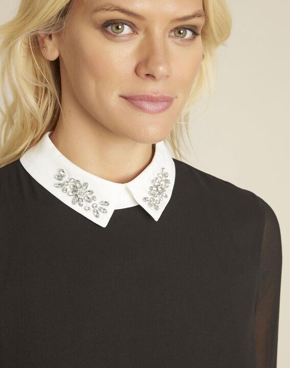 Schwarze Bluse mit Hemdkragen und Schmuck Claire (3) - 1-2-3