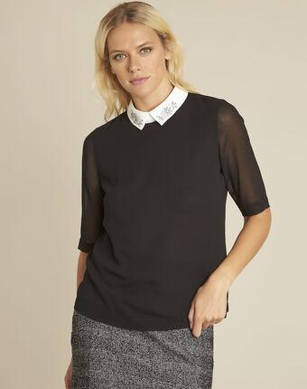 Schwarze bluse mit hemdkragen und schmuck claire schwarz.