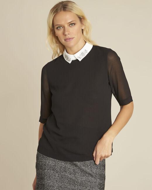 Schwarze Bluse mit Hemdkragen und Schmuck Claire (2) - 1-2-3