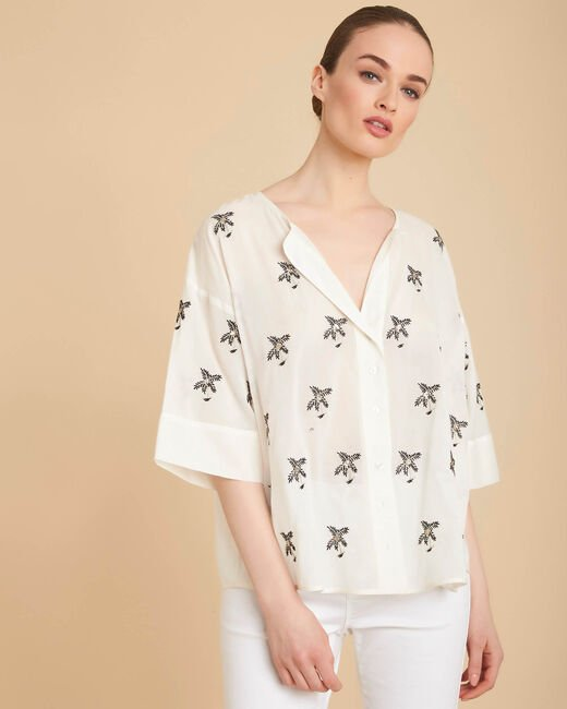 Gardenia ecru palm-printed blouse (2) - 1-2-3