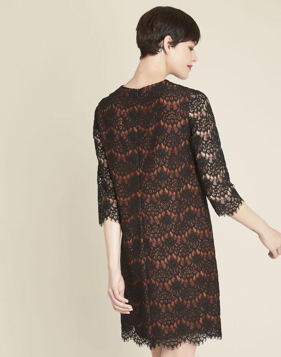 Zwarte kanten jurk met oranje basis (4) - 37653