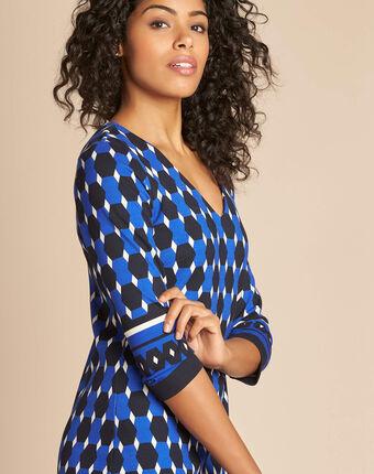 Robe bleue imprimé graphique delila bleu.
