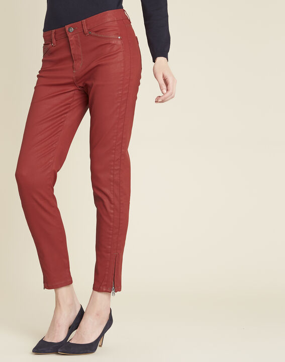 Opera slim-cut mahogany 7/8 length coated jeans PhotoZ | 1-2-3