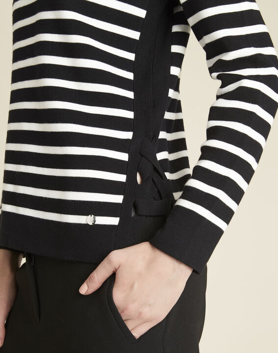 Boat black striped sweater with lacing on the side (3) - 1-2-3