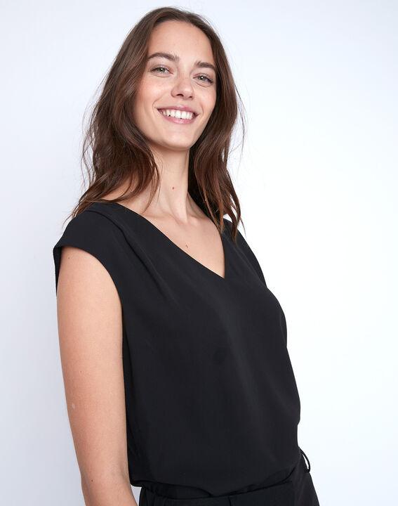 Zwarte blouse van twee materialen met V-hals Neptune (3) - 37653