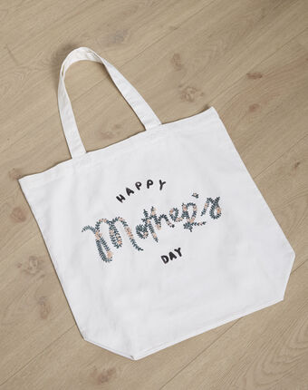 "Tote bag blanc imprimé ""happy mother's day"" uziel blanc casse."