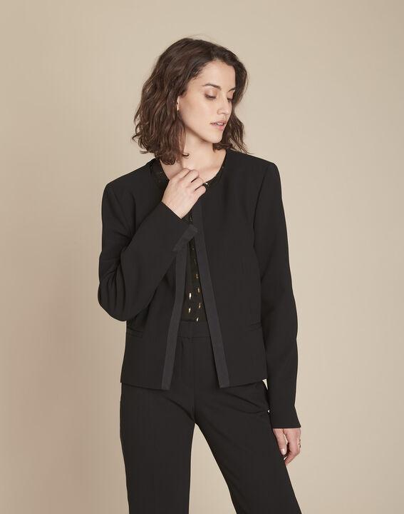 Schwarze Jacke aus Mikrofaserstoff, mit Ripsband, Charme PhotoZ | 1-2-3
