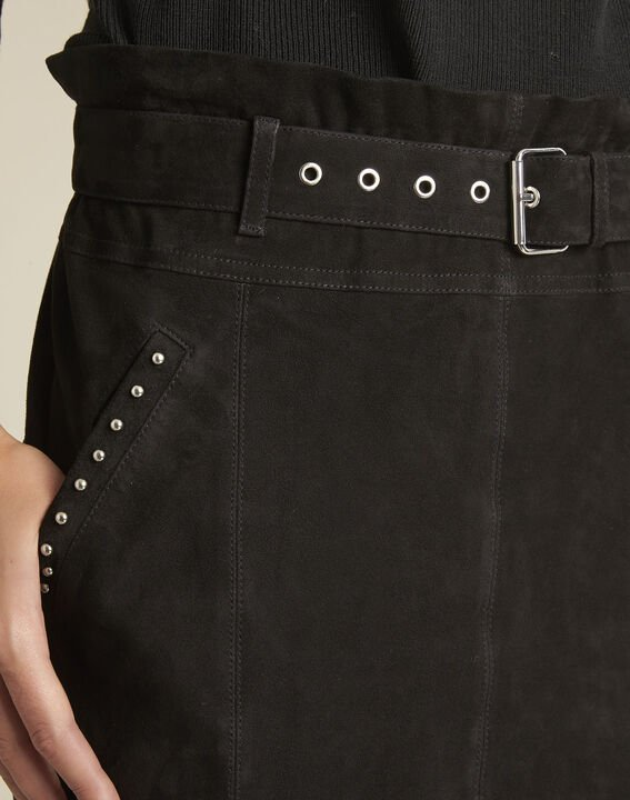 Apache black suede leather skirt with eyelets (3) - 1-2-3