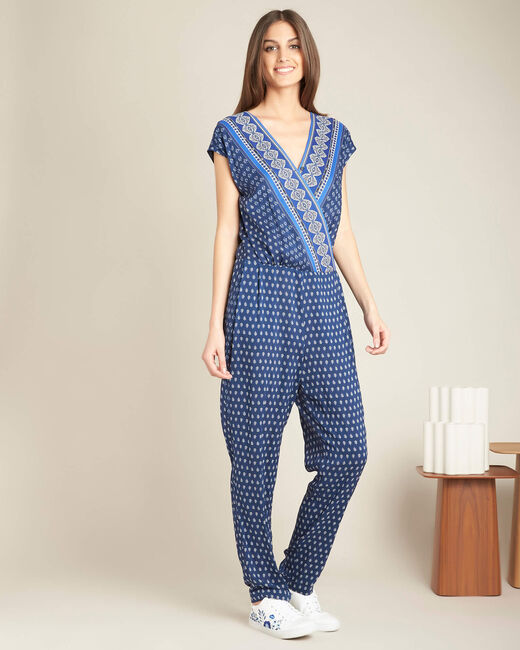Planete navy playsuit with cross-over neckline and ethnic print (2) - 1-2-3