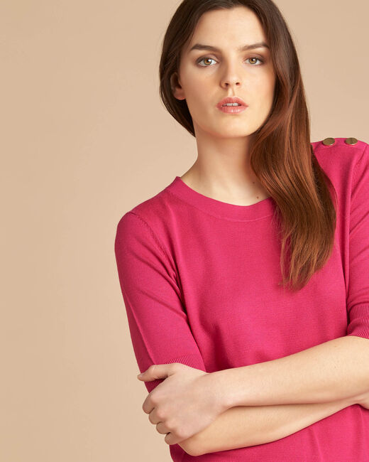 Natacha fuchsia sweater with rounded neckline (1) - 1-2-3