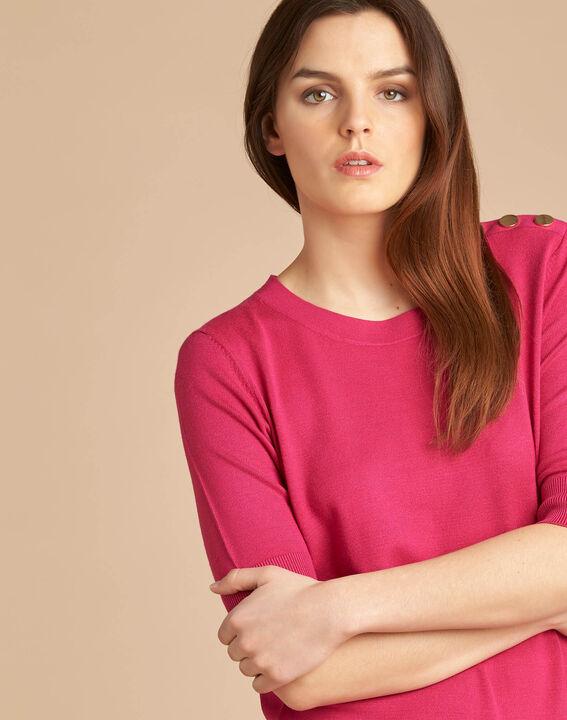 Natacha fuchsia sweater with rounded neckline PhotoZ | 1-2-3