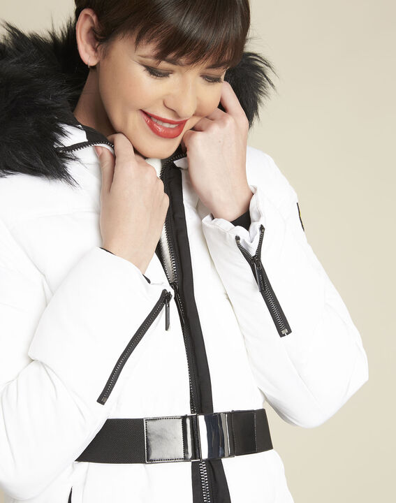 Pipa long white hooded down jacket (3) - Maison 123