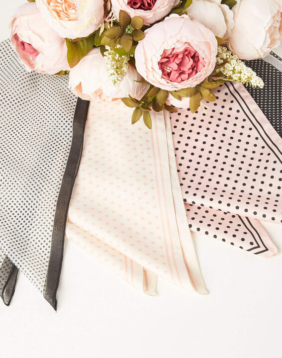 Adelita pale pink square scarf with polka dots PhotoZ | 1-2-3