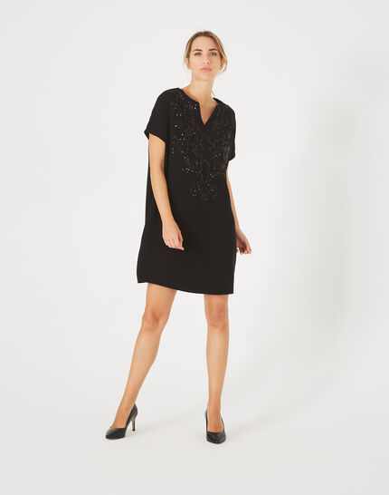Anna black tunic dress embroidered with beads (1) - 1-2-3