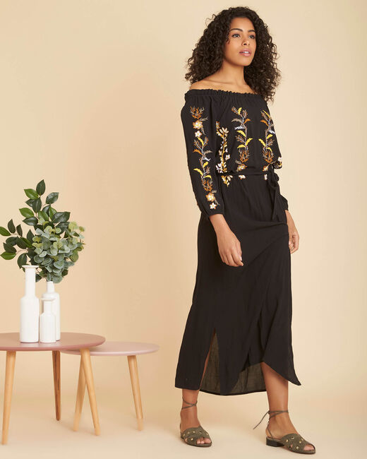 Pervenche long embroidered black skirt (2) - 1-2-3