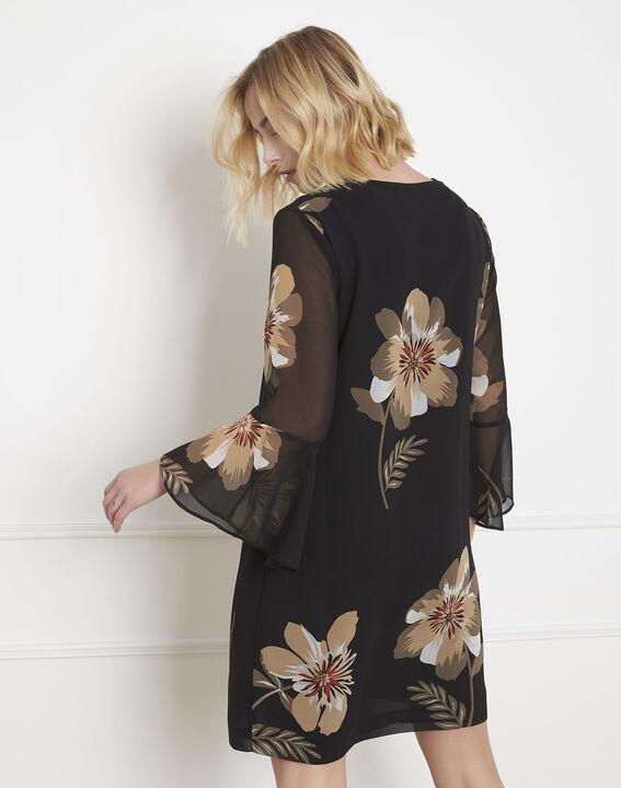 Schwarzes Kleid mit Blumen-Print Astrid (4) - Maison 123