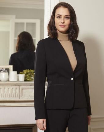 Majesté black collarless jacket black.