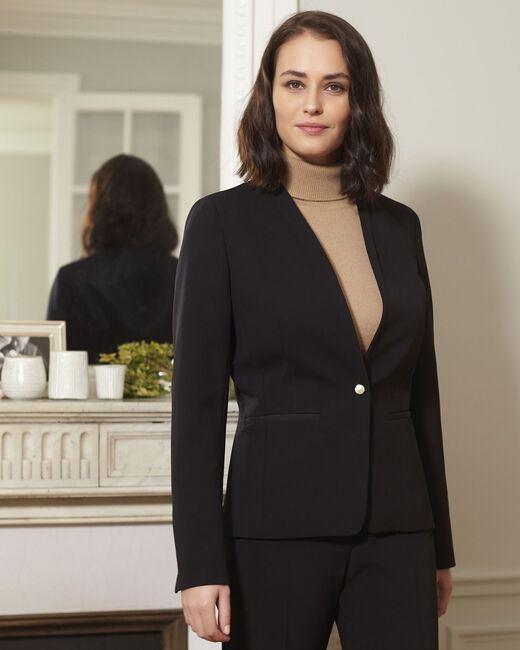 Majesté black collarless jacket (1) - 1-2-3