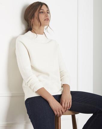 Ecru trui van dun tricot met opstaande kraag belize ecru.