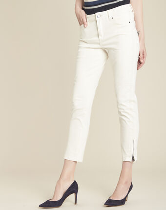 Opera beige 7/8 length coated jeans cream.