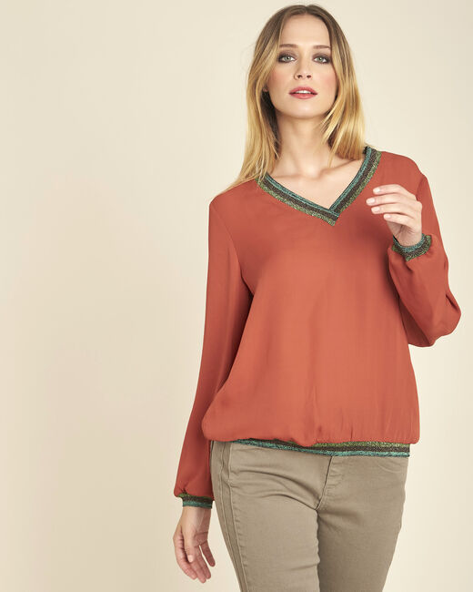 Blouse brique fluide col V encolure brillante Carla (2) - 1-2-3
