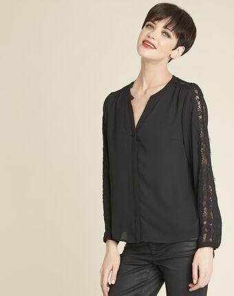 Claudia black blouse with lace yoke black.
