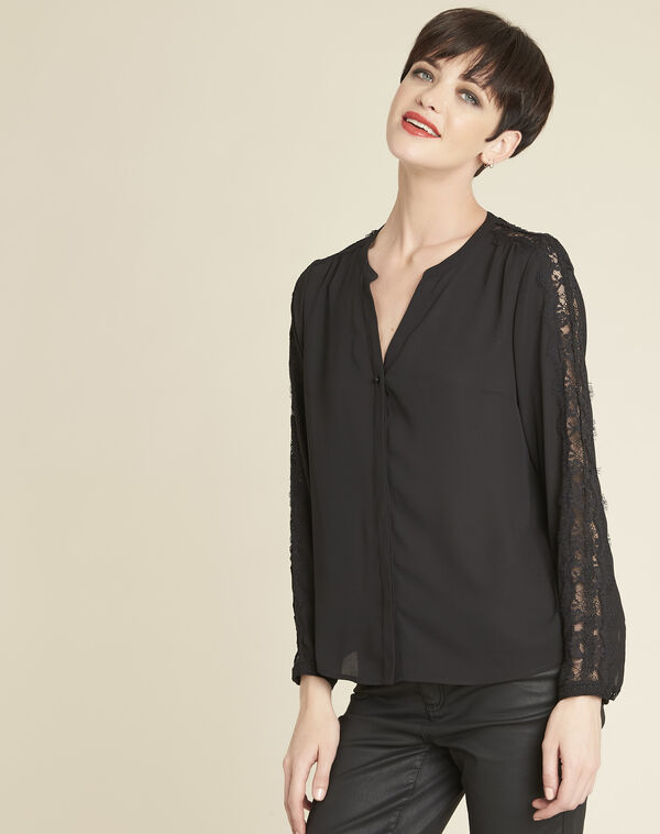 Claudia black blouse with lace yoke (2) - 1-2-3