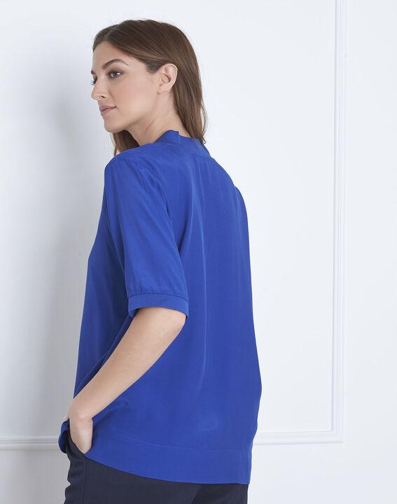 Blaue, weich fallende Bluse V-Ausschnitt Virginie (4) - Maison 123