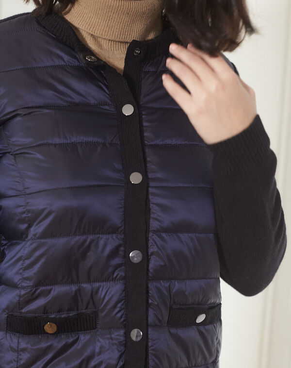 Dunne marineblauwe bodywarmer uit twee materialen Snow (2) - 37653