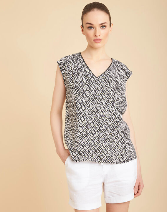Miledine printed V-neck blouse with bow on the back (3) - 1-2-3