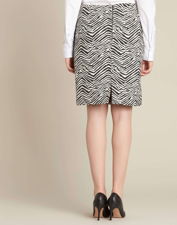 Lisa zebra printed straight-cut skirt with lateral band (4) - 1-2-3